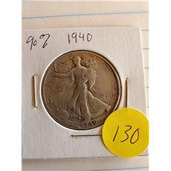 U.S. 1940 Walking Liberty Half Dollar - 90% Silver