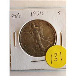 U.S. 1934S Walking Liberty Half Dollar - 90% Silver