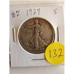 U.S. 1929S Walking Liberty Half Dollar - 90% Silver