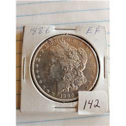 U.S. 1886 EF Morgan Silver Dollar - 90%
