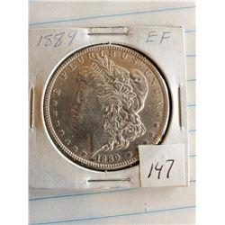 U.S. 1889 EF Morgan Silver Dollar - 90%