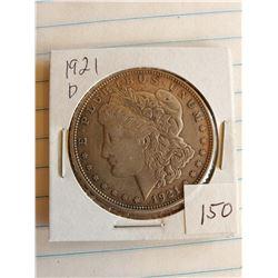 U.S. 1921D Morgan Silver Dollar - 90%