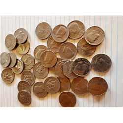 33 Kennedy Half Dollars 1971 to 1995 Random Years - 40% Silver