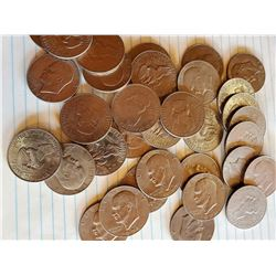 33 Eisenhower U.S. Dollars 40% Silver - Mostly 1970's