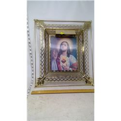 St. Mary and Christ Holographic Picture in Frame w/ Light