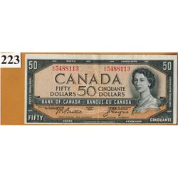 1954 BANK OF CANADA - $50.00 BANKNOTE