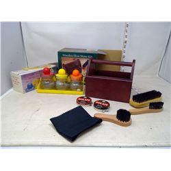 Shoe Shine Kit and Storage Jars