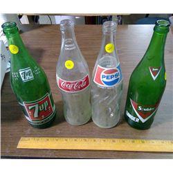FOUR POP BOTTLES - COKE, PEPSI, ETC.