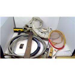 Tennis Rackets, Hose, Safari/Fishing Vests and Hat