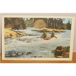 Post Card canoeing French River near North Bay Ontario Canada Poste carte vieille Riviere Francaise