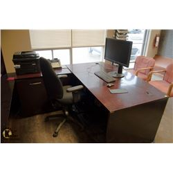 RECEPTION DESK W/ OFFICE CHAIR, COMPUTER, HUTCH,