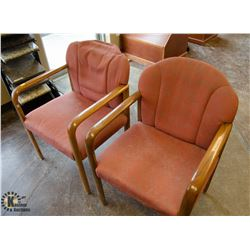 LOT OF 2 SALMON & WOOD RECEPTION CHAIRS