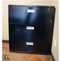 BLACK 3 DRAWER LATERAL FILING CABINET