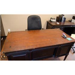 WOODEN OFFICE DESK W/ OFFICE CHAIR