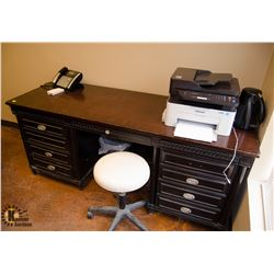 9 DRAWER WOODEN OFFICE DESK W/ WHITE STOOL &