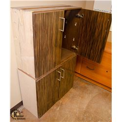 LOT OF 2 ZEBRA WOOD FINISH CABINETS