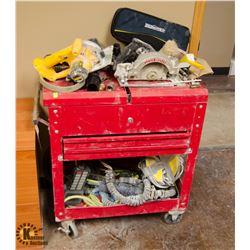 RED TOOLBOX ON CASTORS W/ CONTENTS INCL: DEWALT