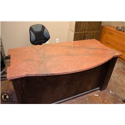 GRANITE TOP OFFICE DESK W/ OFFICE CHAIR & GRANITE