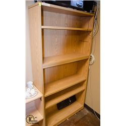 WOOD FINISH BOOKSHELF W/ WOOD FINISH CABINET