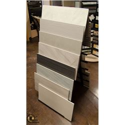 LOT OF 16 ASSORTED TILES ON TILE DISPLAY STAND