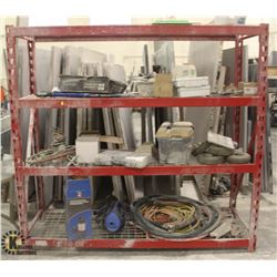RED METAL STORAGE RACK W/ CONTENTS INCL: SUMP