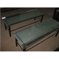 PAIR OF GLASS COFFE TABLES