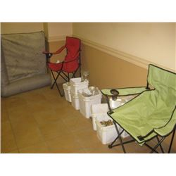 DOG BED / CAMPING CHAIRS / PAILS OF HARDWARE