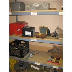 SHELF OF MISC TOOL BOX / BATTERY / FIRST AID / CORD