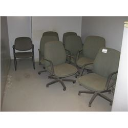 7 PC GREEN OFFICE CHAIRS