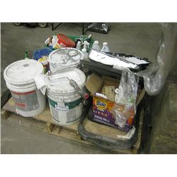PALLET OF PAINT AND CLEANING SUPPLIES
