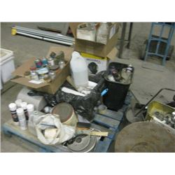 PALLET OF CLEANING AND PAINT SUPPLIES