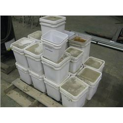 PALLET OF PLASTIC BUCKETS OF HARDWARE