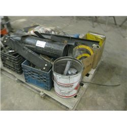 PALLET OF MISC METAL GUIDES AND PARTS