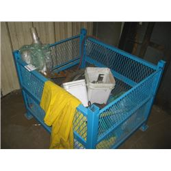 BLUE METAL PALLET SKID WITH MISC TOOLS