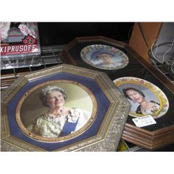 SET OF 3 ASSORTED ROYAL FAMILY PLATES IN FRAMES
