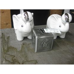 SET OF 3 ASSORTED PIGGY BANKS