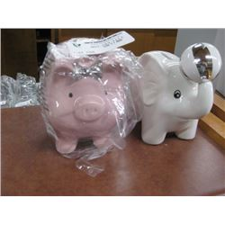 SET OF 2 ASSORTED PIGGY BANKS