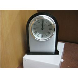 SILVER AND BLACK DESK CLOCK