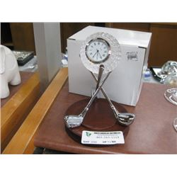 GOLF CLOCK SILVER WITH WOODEN STAND