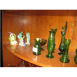 BUG'S LIFE FIGURINES AND GREEN GLASSWARE