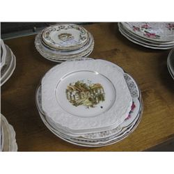 SET OF 2 PILES OF ASSORTED DINNER PLATES