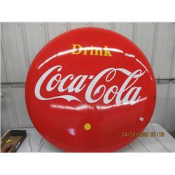 VI -  Porc 1960 Drink Coca Cola 4' Rd Sign Vintage