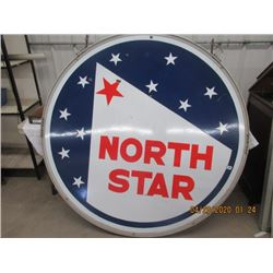 CH - Porc North Star 5' 2 Sided w Frame Sign Vintage