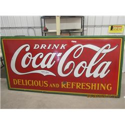 VI - Porc 1930's Drink Coca Cola Delicious & Refreshing 4' x 8' Vintage