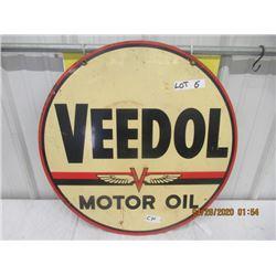 """CH - Metal Veedol Motor Coil 24"""" Rd 2 Sided Vintage"""
