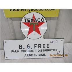 "CH - Porc Texaco B G Free Farm Product Distributor Arden, MB 16"" x 21"" - Vintage"