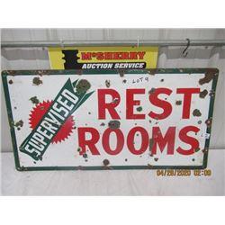 """LZ- Porc BA Restroom Sign 38"""" x 30"""" 2 Sided Vintage"""