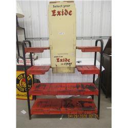 """LZ-Metal Exide Battery Rack - Vintage Height og Rack & Sign 73""""- Width of Rack 43"""""""