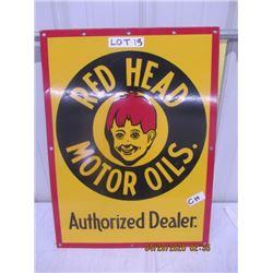 "CH - Porc Red Head Motor Oil Autiorized Dealer 18"" x 24"" Age????"