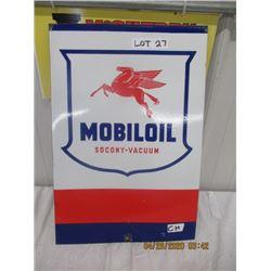 "CH- Porc Mobil Oil Sign 22"" x 15"" - Modern"
